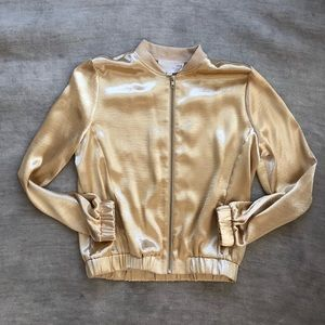Anthropologie JOA Medium Metallic Gold Jacket